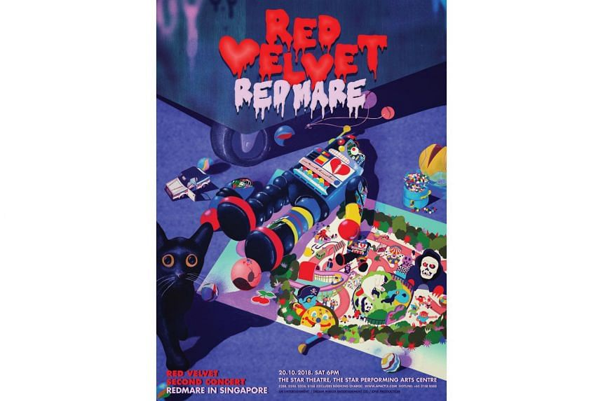 Red Velvet's concert, titled Redmare, follows the concept of an amusement park and is divided into five segments.