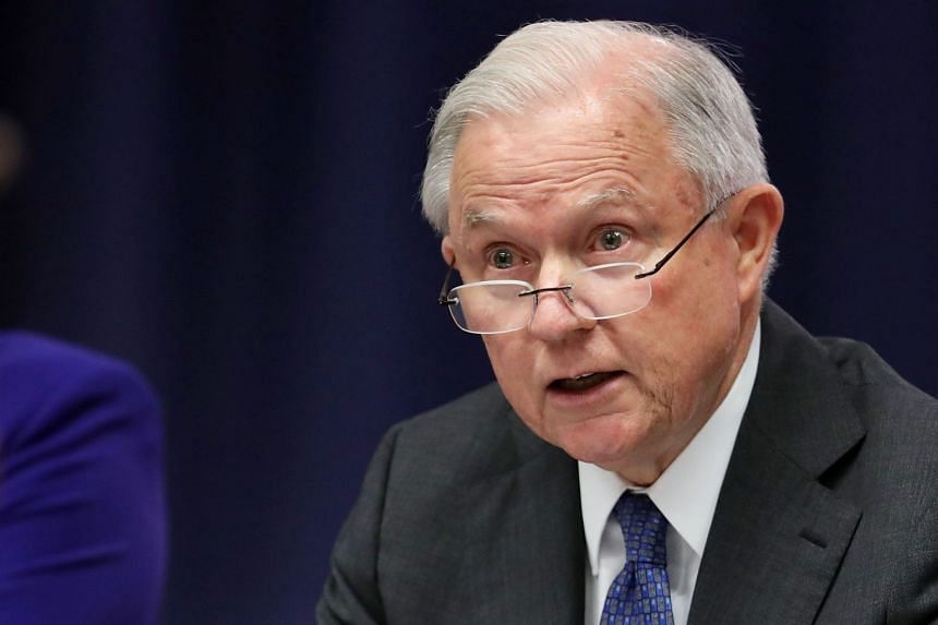 Sessions delivering remarks at a round table event in Washington on Aug 29, 2018.