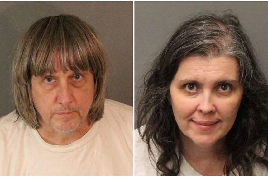 A combination photo showing David Allen Turpin (left) and Louise Ann Turpin in their police booking photos.