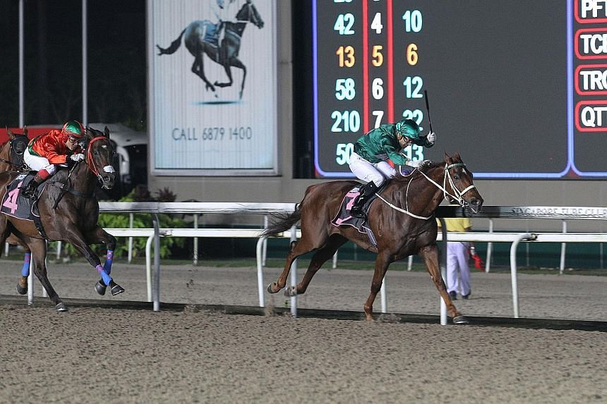 McGregor responding to Vlad Duric's whip riding to take the $100,000 Kranji Stakes B race over the Polytrack 1,600m last night.