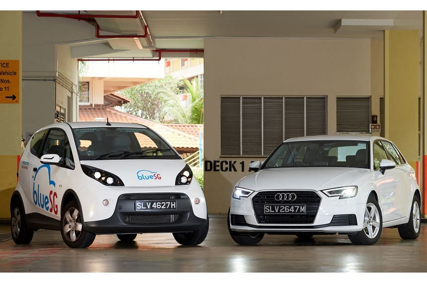 BlueSG's electric subcompact (left) is agile and manoeuvrable, while the A3 (right) from Audi On Demand's car-sharing plan is luxurious, comfortable and well-equipped.