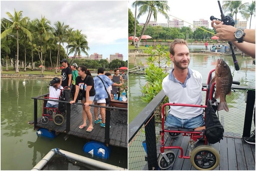 Nick Vujicic was seen at fishing pond D'Best Fishing in Pasir Ris on Aug 30, 2018.