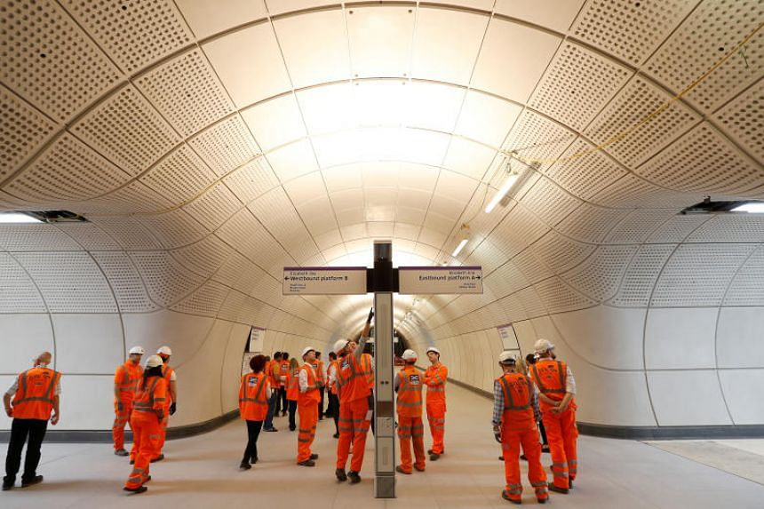 Crossrail employees visit the new Farringdon underground station of the Elizabeth line in London, Britain, on June 15, 2018.