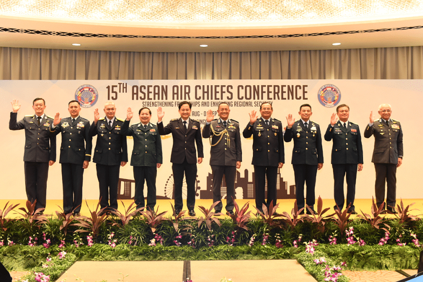 Asean's air force chiefs and the deputy chief of the Air Force Department of the Lao People's Army pose for a photo at the 15th Asean Air Chiefs Conference on Sept 1, 2018.