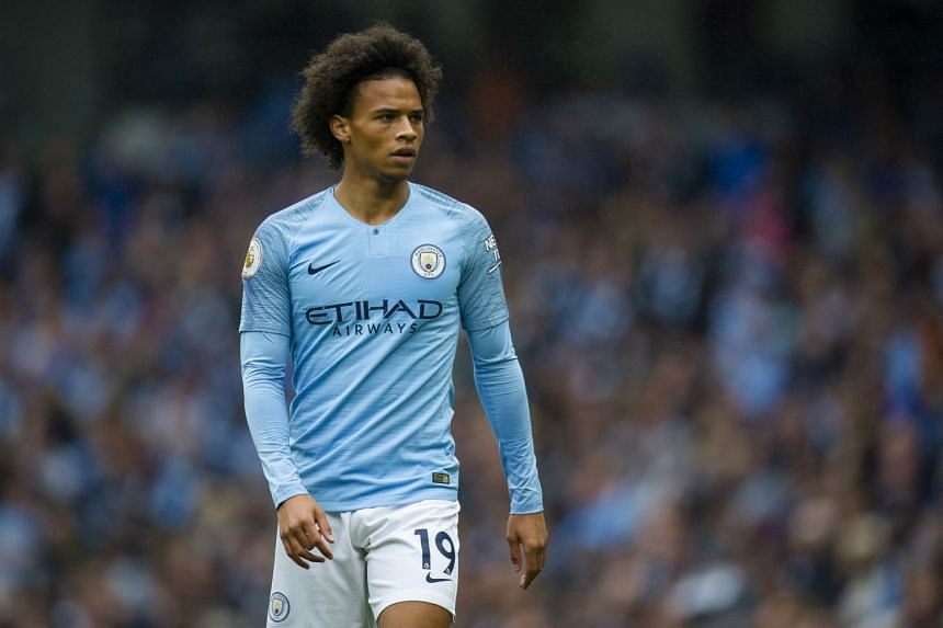 Sane in action for City against Huddersfield Town on Aug 19, 2018.