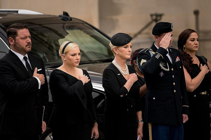 The memorial service for Senator John McCain yesterday was held at the Washington National Cathedral.