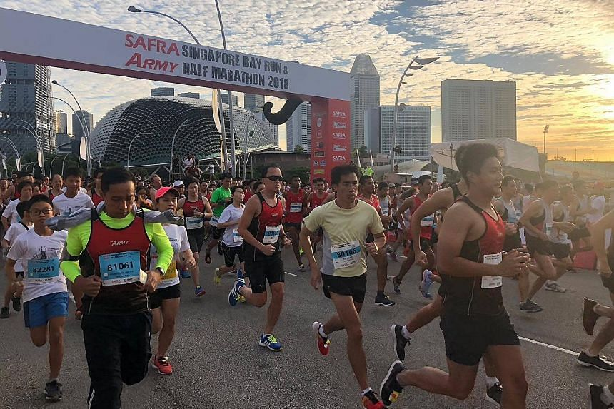 Former Traffic Police officer Wong Chung Kent (above), 46, suffered chest pain while having a meal after taking part in the 10km category of the Safra Singapore Bay Run and Army Half Marathon.