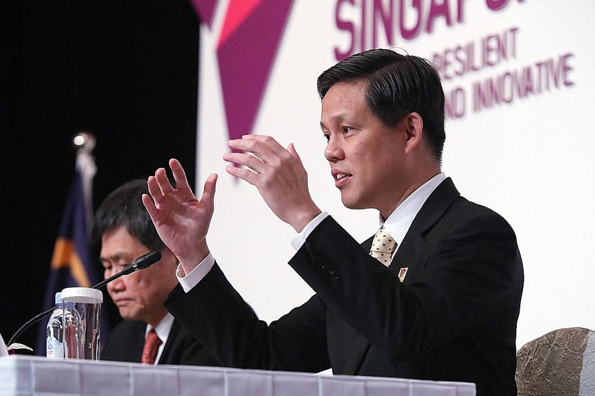 Trade and Industry Minister Chan Chun Sing at the Asean Economic Ministers-United States Trade Representative Consultations yesterday with (from left) Brunei's Acting Permanent Secretary for Foreign Affairs and Trade, Ms Nor Ashikin Johari; Cambodian