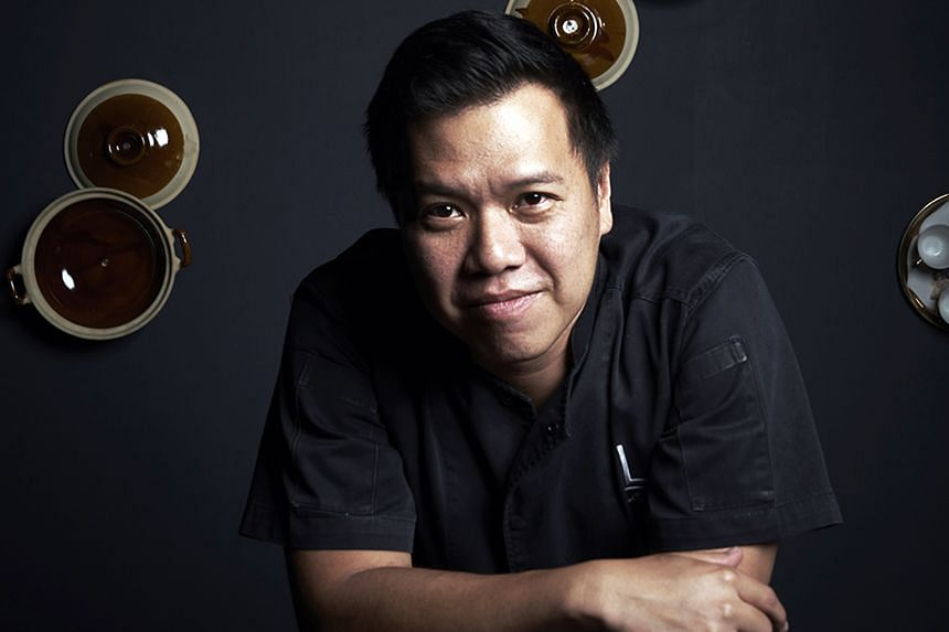 Labyrinth's chef-owner Han Li Guang's (above) Ang Moh Chicken Rice is one of his modern interpretations of local food.