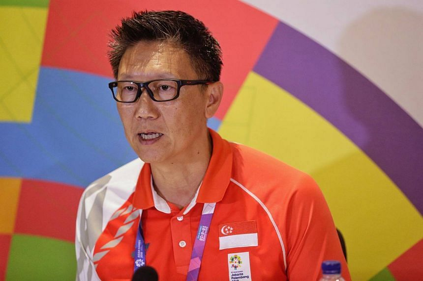 Singapore's Chef de Mission Lee Wung Yew speaking during a press conference at the 18th Asian Games in Jakarta, on Sept 1, 2018.