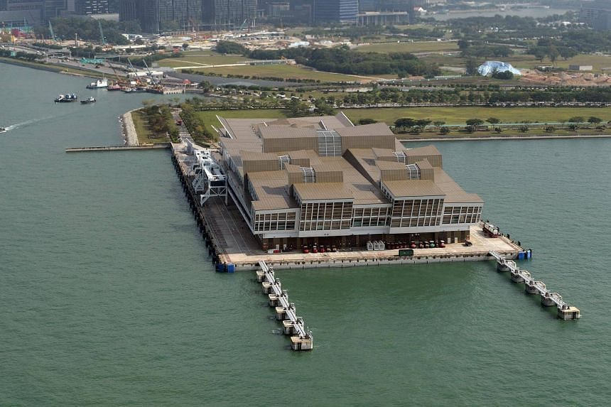 An aerial view of the Marina Bay Cruise Centre.