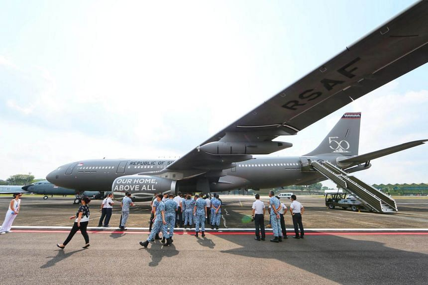The Multi-Role Tanker Transport making its first appearance at Tengah Airbase during the media preview of the RSAF50 Parade on Sept 1, 2018.