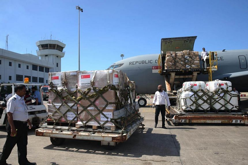 Supplies being unloaded from the Republic of Singapore Air Force KC-135R transport aircraft at the Chittagong airport in Bangladesh, on  Oct 10, 2017.
