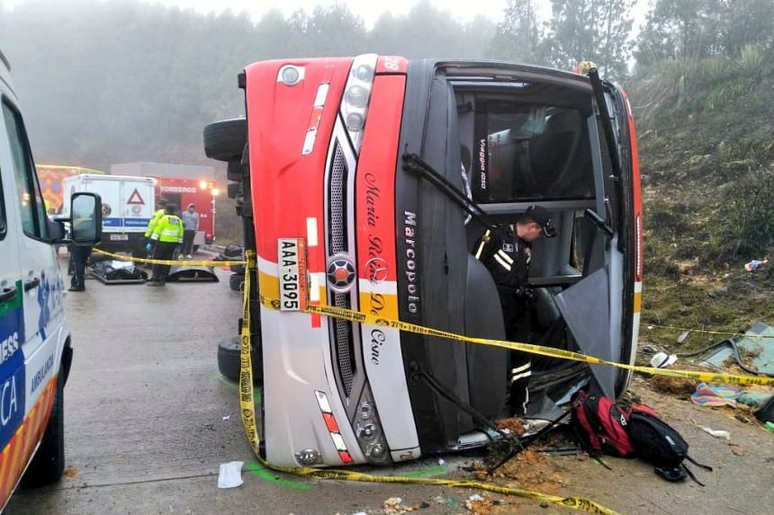 Images shared by the Cuenca fire department showed the bus overturned on its side.