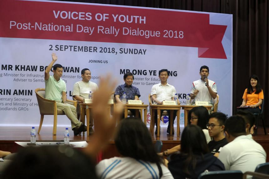 (From left) MP Lim Wee Kiak,  Senior Parliamentary Secretary for Home Affairs Amrin Amin, Minister for Transport Khaw Boon Wan, Minister for Education Ong Ye Kung and MP Vikram Nair at a dialogue session on Sept 2, 2018.