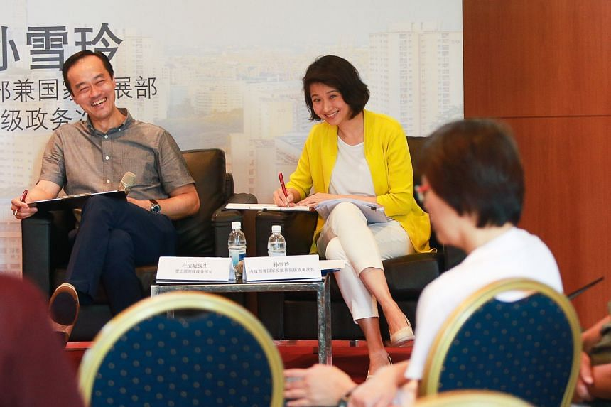 Senior Minister of State for Trade and Industry Koh Poh Koon and Senior Parliamentary Secretary for Home Affairs and National Development Sun Xueling at the dialogue yesterday.