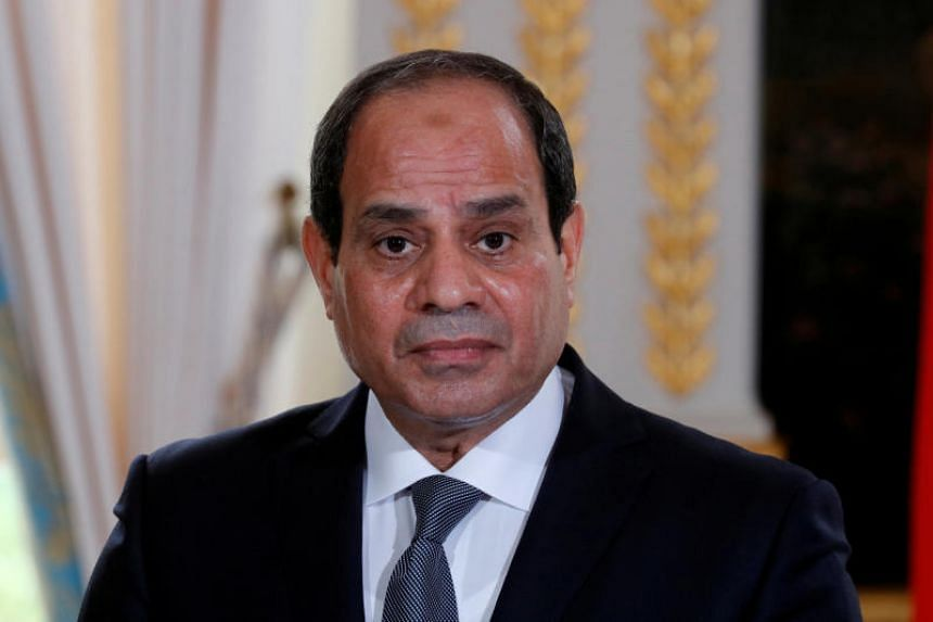 Egyptian President Abdel Fattah al-Sisi attending a news conference at the Elysee Palace in Paris, France, on Oct 24, 2017.
