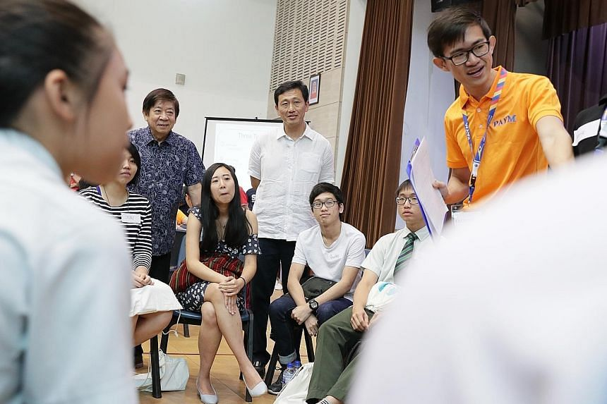 More than 200 young people from Sembawang GRC participated in a post-National Day Rally dialogue hosted by grassroots advisers yesterday. At the session were Minister for Transport Khaw Boon Wan (left) and Minister for Education Ong Ye Kung (centre).