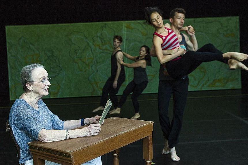 Actress Kathleen Chalfant narrating T.S. Eliot's Four Quartets during a rehearsal of the dance based on the poem.