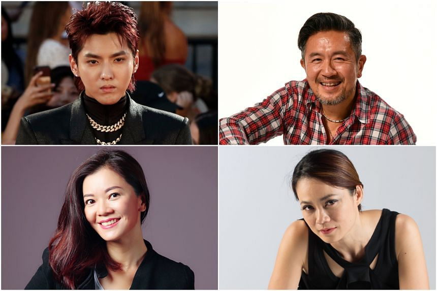Clockwise from top left: Chinese-Canadian actor Kris Wu, Singaporean actor Adrian Pang, Malaysian actress Yeo Yann Yann, and Singaporean actress Michelle Chong.