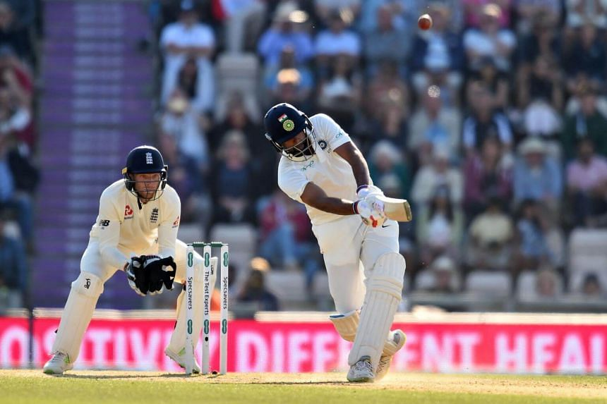 India's Ravichandran Ashwin hits a six during play on the fourth day of the fourth Test cricket match between England and India at the Ageas Bowl in Southampton, on Sept 2, 2018.