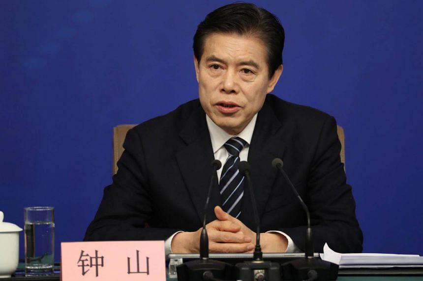 "In a separate Qiushi commentary, Chinese Commerce Minister Zhong Shan called for ""proactively expanding imports to promote balanced trade""."