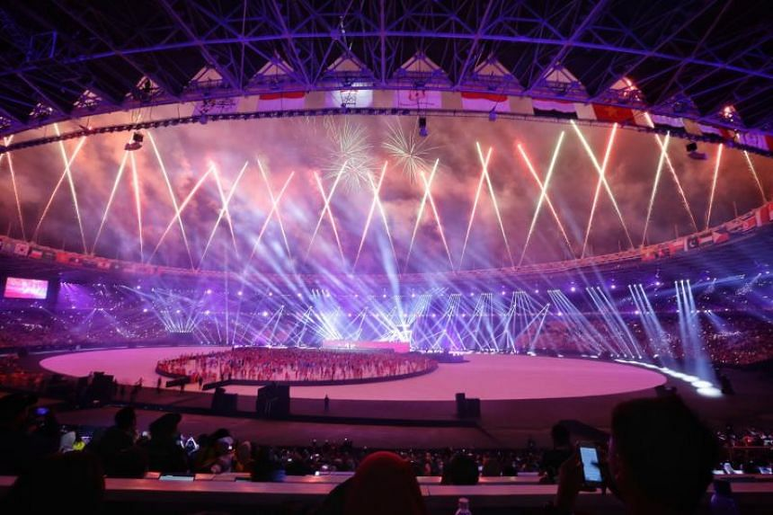A display of fireworks during the closing ceremony of the 18th Asian Games in Jakarta, Indonesia, on Sept 2, 2018.