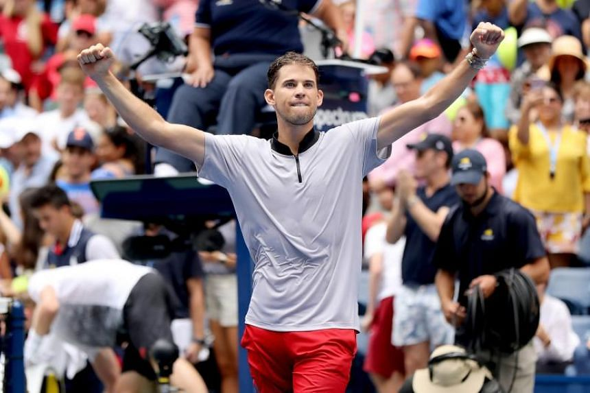 Dominic Thiem of Austria celebrates after winning his men's singles fourth round match on day seven of the 2018 US Open at the USTA Billie Jean King National Tennis Center on Sept 2, 2018.