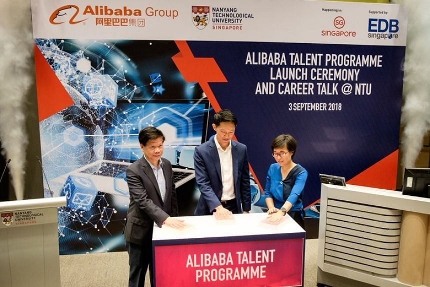 (From left) Professor Lam Khin Yong, Nanyang Technological University's (NTU) vice-president of research, Mr Ang Chin Tah, the Economic Development Board's director of infocommunications and media, and Ms Liu Xiangwen, senior director of Alibaba Tech