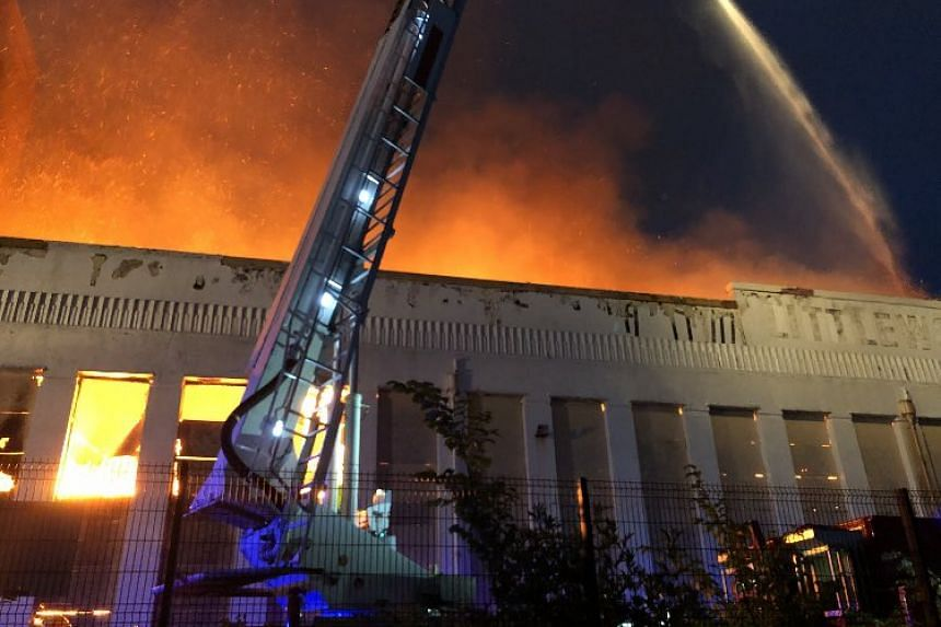 Firefighters are battling a blaze at Littlewoods Pools in Liverpool, on Sept 2.