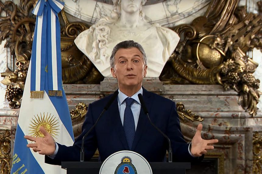 Argentina's President Mauricio Macri speaking to the nation during a televised message to announce austerity measures in Buenos Aires, on Sept 3, 2018.