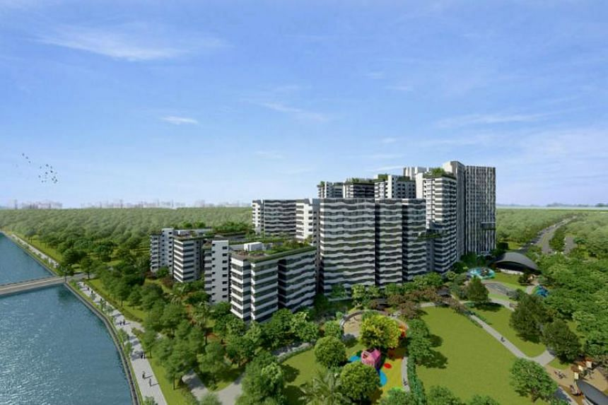 An artist's impression of Punggol Point Cove, one of two housing projects in the newly launched waterfront district of Punggol Point.