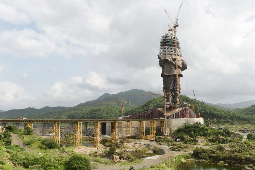 The construction site of the Statue Of Unity, a monument dedicated to Indian independence leader Sardar Vallabhbhai Patel, in India's western Gujarat state on Aug 25, 2018. The statue is to be 182m high and costs 29.9 billion rupees (S$575 million).