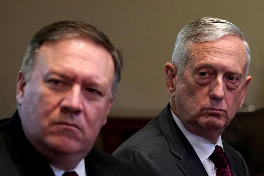 US Secretary of State Mike Pompeo (left) and Defence Secretary Jim Mattis (right) will hold talks with their Indian counterparts in New Delhi on Sept 6, 2018.