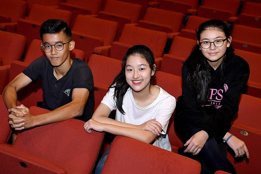 (From left) Beatboxer Brisel Choo, 14, and singers Ashley New, 16, and Melissa Hecker, 13, are performing at this year's ChildAid concert, which will be held on Nov 25 and 26 at Resorts World Sentosa.