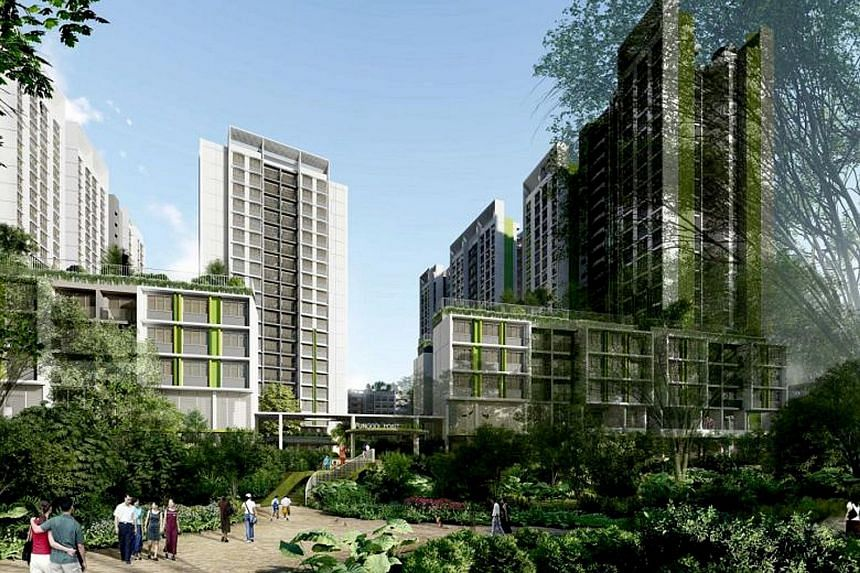 The 940-unit Punggol Point Woods, which will be in the waterfront district of Punggol Point. As of 5pm yesterday, there were 5,608 applications for 1,221 three-room and larger flats - 4.6 times the number of flats available - in Punggol Point.