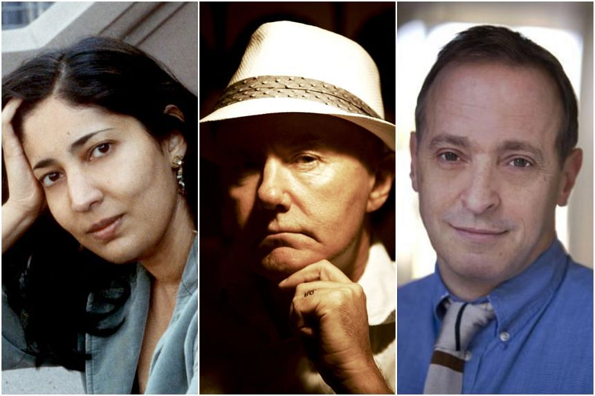 (From left) Man Booker prize-winning Indian author Kiran Desai, cult Scottish author Irvine Welsh, and American satirist David Sedaris.