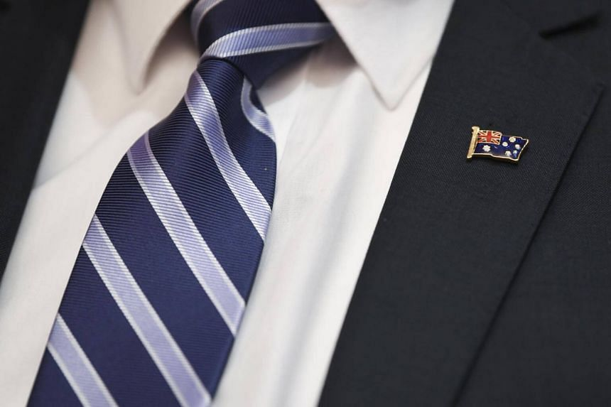 A pin depicting the Australian flag is seen during a cabinet meeting at Parliament House in Canberra, Australia, on Aug 28, 2018.