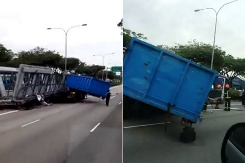 The Straits Times understands that the prime mover had broken down on the expressway when the truck crashed into it moments later.