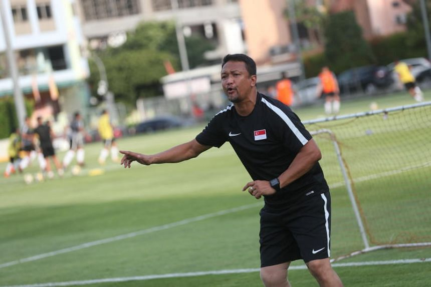 Fandi Ahmad with the national team at its first training session, on Sept 3, 2018.