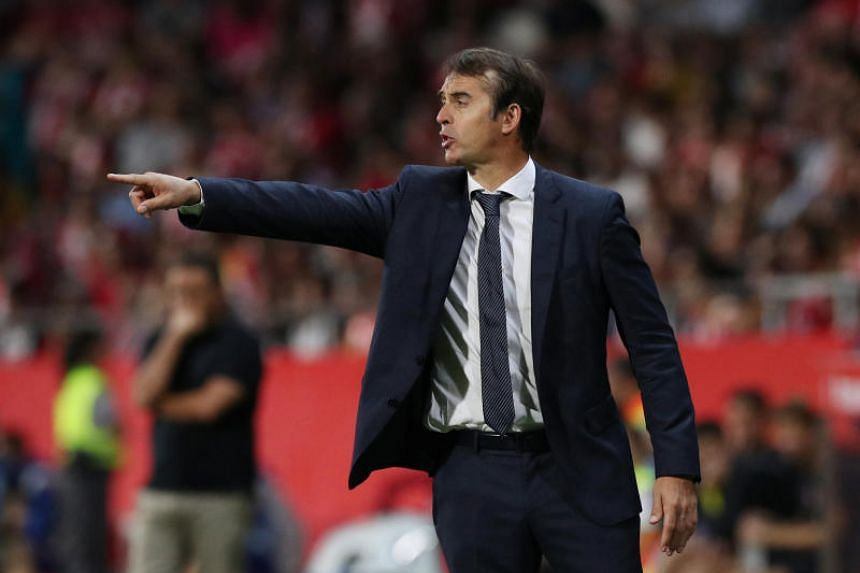 Real Madrid coach Julen Lopetegui reacts during a game of La Liga against Girona, in Girona, Spain, on Aug 26, 2018.