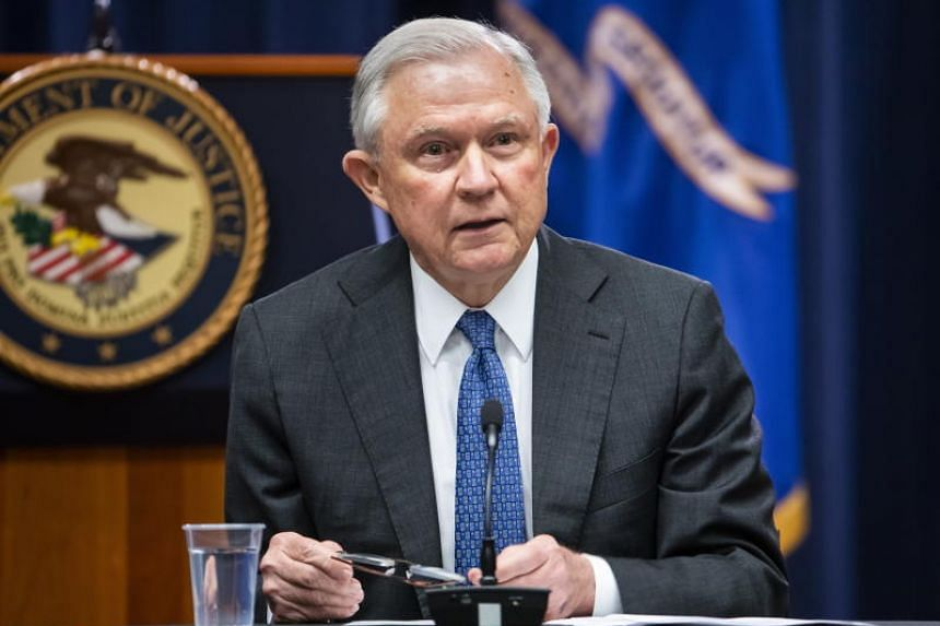 US Attorney General Jeff Sessions delivers opening remarks at a roundtable with the Joint Inter-agency Task Force Foreign Liaison Officers at the Department of Justice in Washington, DC, US, on Aug 29, 2018.