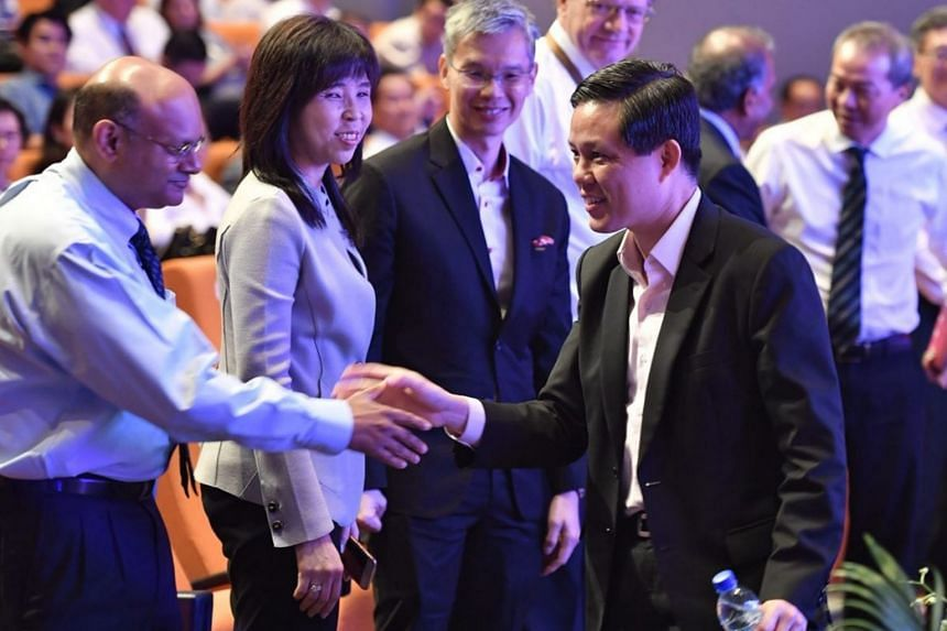 Minister for Trade and Industry Chan Chun Sing (right) with guests as he takes his leave of the Leaders in Science Forum on Sept 4, 2018.