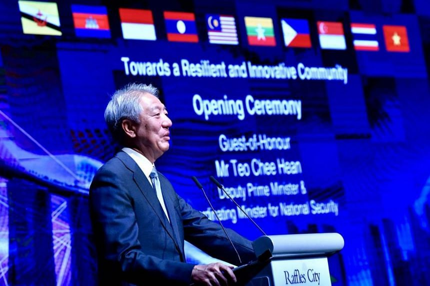 Deputy Prime Minister Teo Chee Hean speaking at the opening ceremony of the 39th Asean Inter-Parliamentary Assembly General Assembly.