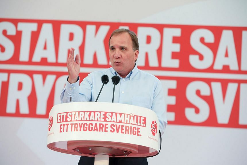Swedish PM Stefan Lofven speaks during an election campaign meeting in Botkyrka outside Stockholm, on Sept 2, 2018.