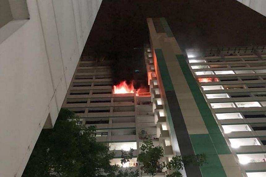 A unit on the 15th floor of Block 78 Indus Road was almost entirely up in flames.