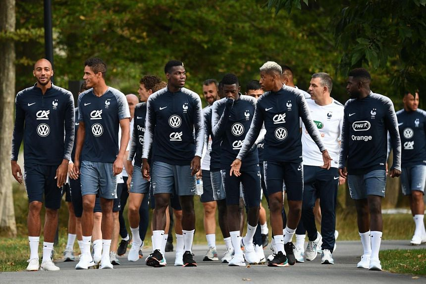 French players arriving for a training session in Clairefontaine-en-Yvelines, on the outskirts of Paris, on Sept 3, 2018.