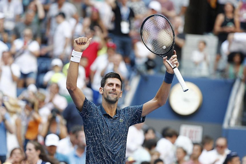 Novak Djokovic of Serbia reacts after defeating Joao Sousa of Portugal during the eighth day of the US Open Tennis Championships the USTA National Tennis Center in Flushing Meadows, New York, on Sept 3, 2018.
