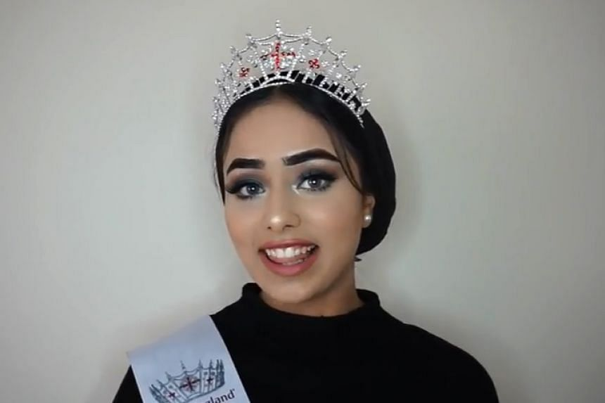 Iftekhar (above) has already won the Miss Huddersfield title, representing the northern English market town.