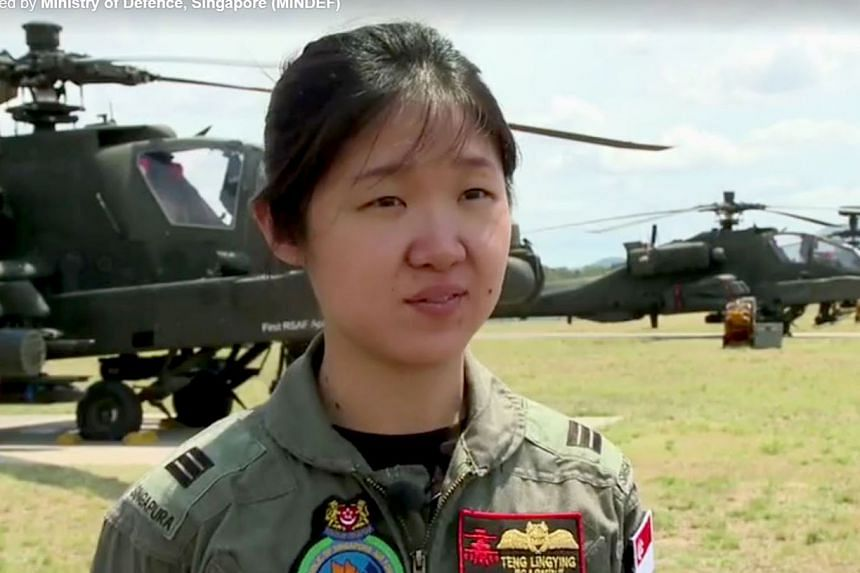 Captain Teng Ling Ying in a Ministry of Defence video in 2013, where she introduced herself as an Apache pilot in 120 Squadron. She was redeployed as an air warfare officer in January last year.